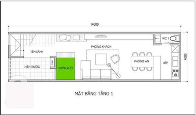 bản vẽ nhà 2 tầng 5x16